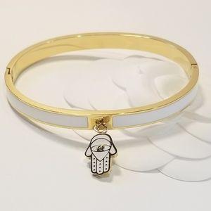 Hamsa White Enamel 18K Gold Stainless Brace